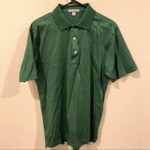 Peter Millar green white striped golf polo